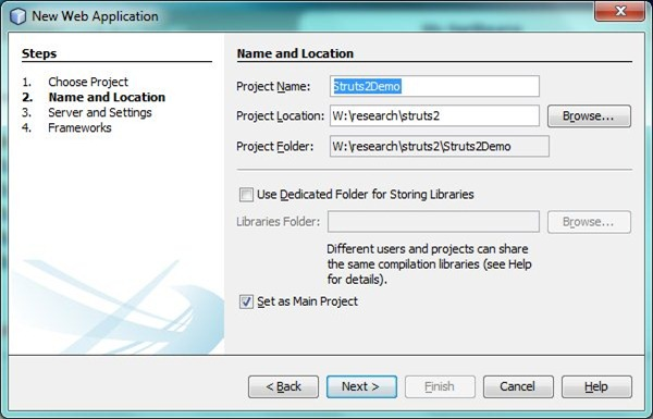 Creating a Struts 2 application in NetBeans